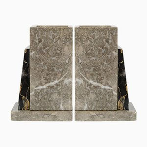 Vintage Marble Bookends, 1920s, Set of 2