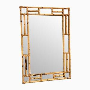 Großer rechteckiger Spiegel aus Bambus & Korbgeflecht, 1970er