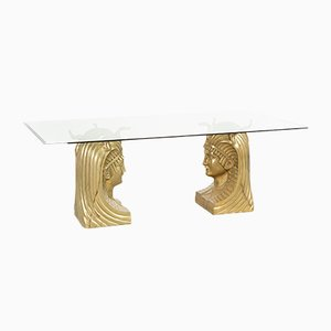 Mesa de comedor grande con faraones de latón, años 70