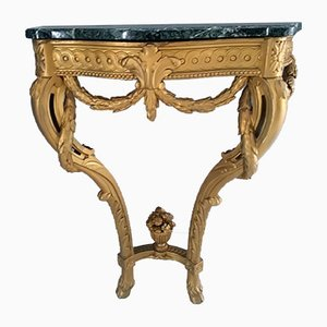 Antique Louis XVI Green Marble Console Table, 1890s