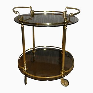 Round Vintage Brass & Glass Bar Cart, 1970s