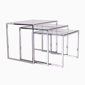 Modernist Glass & Chrome Nesting Table Set, 1970s