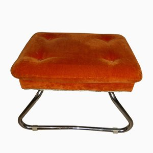 Orange Velvet Folding Stool or Step Ladder, 1970s