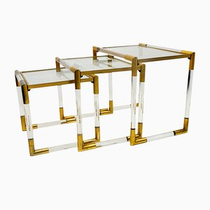 Tables Gigognes en Lucite par Charles Hollis Jones, 1970s