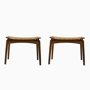 Scandinavian Modern Oak & Cane Stools from Olholm, 1950s, Set of 2