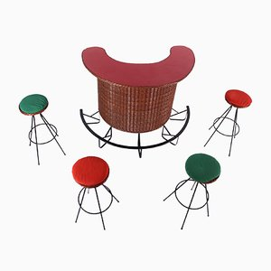 Large Vintage Rattan Bar & 4 Stools Set, 1950s
