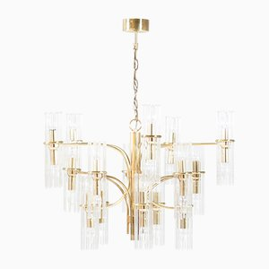 Mid-Century Brass Chandelier by Gaetano Sciolari for Lightolier, 1960s