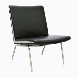 Black Leather & Steel Airport Lounge Chair by Hans J. Wegner for Carl Hansen & Søn, 1960s