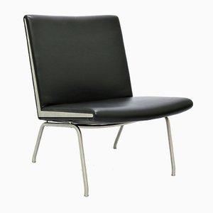 Black Leather & Steel Airport Lounge Chair by Hans J. Wegner for Carl Hansen & Søn, 1960s