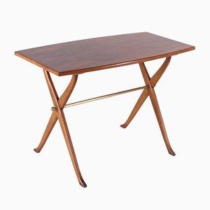Mesa de centro en forma de barril de madera nudosa, años 50