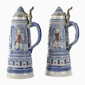 Jarras de cerveza alemanas antiguas, década de 1880. Juego de 2