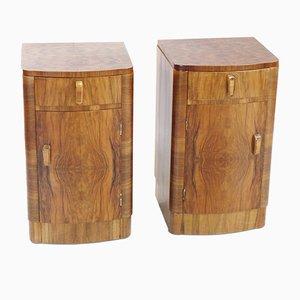 Comodini Art Déco in legno di noce, anni '30, set di 2