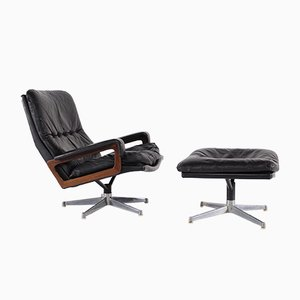 Black Leather King Chair & Ottoman by André Vandenbeuck for Strässle, 1970s