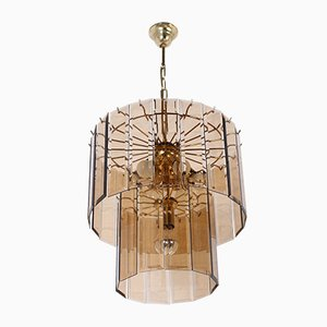 Hollywood Regency Murano Glass and Brass Chandelier, 1970s