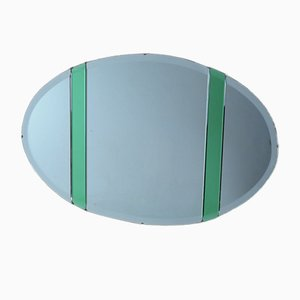Art Deco Oval Wall Mirror with Green Glass Detailing, 1930s