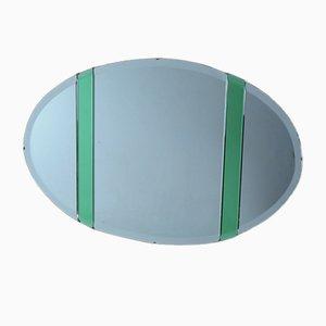 Specchio a muro ovale Art Déco con dettagli in vetro verde, anni '30