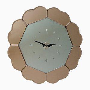 Horloge Murale Art Déco en Miroir Rose Pêche, 1930s