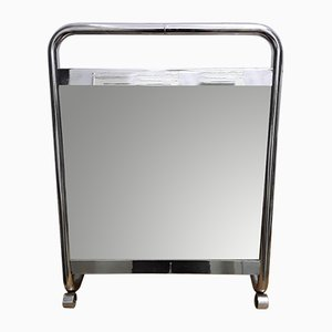 Miroir Art Déco en Métal Chromé
