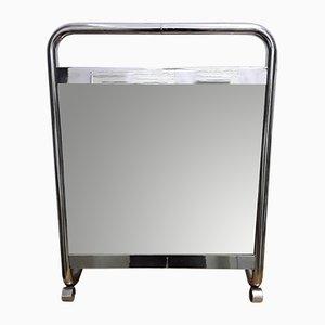 Verchromter Art Deco Spiegel aus Metall