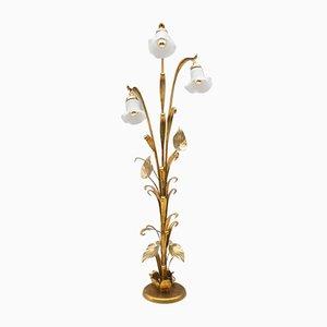 Lámpara de pie dorada, años 70