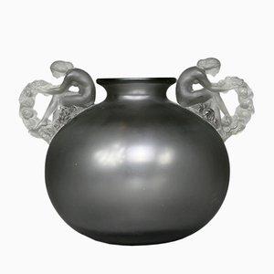 Vaso Bouchardon in vetro grigio di René Lalique, 1926