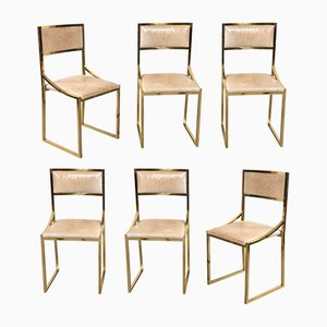 Italian Leather & Brass Dining Chairs by Willy Rizzo, 1970s, Set of 6