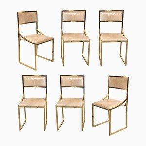 Italienische Esszimmerstühle aus Leder & Messing von Willy Rizzo, 1970er, 6er Set