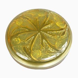 Scatola vintage in vetro opalescente giallo foderato di R. Lalique