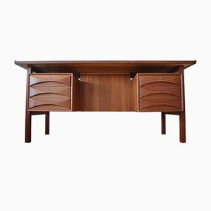 Mid-Century Teak Floating Top Executive Desk, 1960s