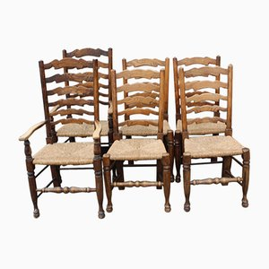 Ladder Back Oak Dining Chairs, 1940s, Set of 6