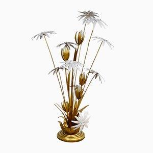 Lampada da terra floreale dorata di Hans Kögl, anni '70