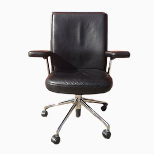 Vintage Black Leather Adjustable Swivel Chair by Antonio Citterio for Vitra