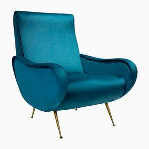 Blauer italienischer Sessel mit Beinen aus Messing, 1950er