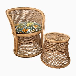 Vintage Wicker Rattan Armchair and Stool Set, 1970s
