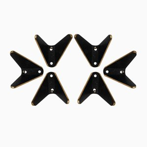 Ebonized Brass Double Coat Hooks by Hertha Baller, 1952, Set of 6