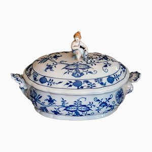 Oval White & Blue Porcelain Tureen from Meissen, 1950s