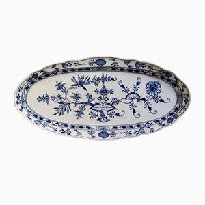 Large Blue & White Porcelain Oval Platter from Meissen, 1950s