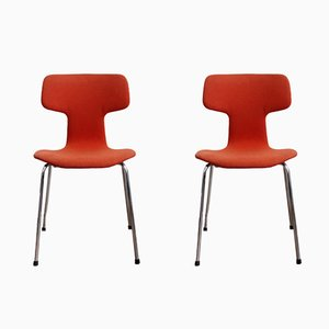 Vintage 3103 Hammer Chairs by Arne Jacobsen for Fritz Hansen, 1979, Set of 2
