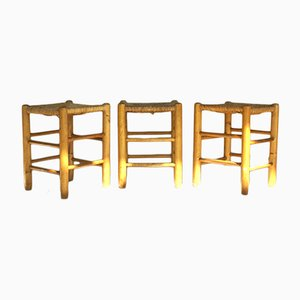 Model Dordogne Stools by Charlotte Perriand for Sentou, 1960s, Set of 3