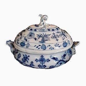 Sopera antigua grande de porcelana blanca y azul de Meissen