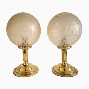 Mid-Century Brass & Glass Table Lamps, Set of 2