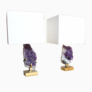Amethyst Table Lamps by Willy Daro, 1970s, Set of 2