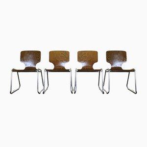 Sedie vintage in metallo cromato e legno di pagwood, anni '70, set di 4