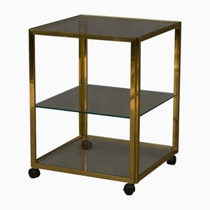 Italian Brass Bar Trolley with 3 Shelves, 1970s