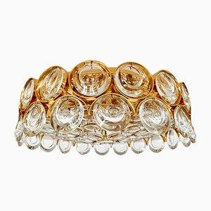 Vergoldete Hollywood Regency Deckenlampe aus Kristallglas von Palwa, 1960er