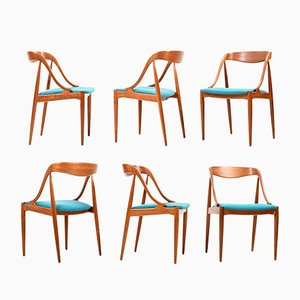 Teak Model 16 Dining Chairs by Johannes Andersen for Uldum Møbelfabrik, 1960s, Set of 6