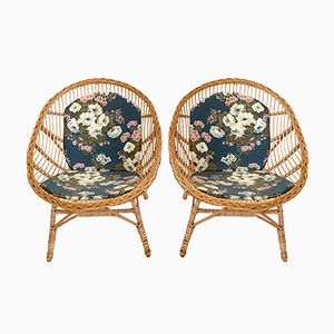 Vintage Wicker & Rattan Chairs, 1970s, Set of 2