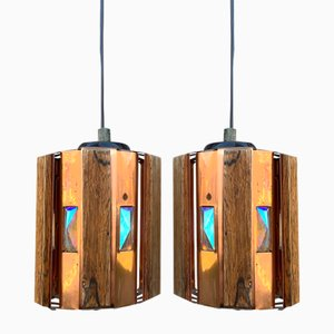 Danish Teak & Copper Pendants by Werner Schou for Coronell Elektro, 1960s, Set of 2