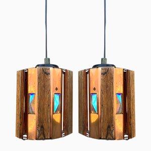 Danish Teak & Copper Pendants by Werner Schou for Coronell Elektro, 1960s, Set of 2