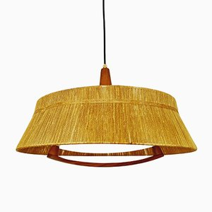 Pendant Lamp with Bast Lampshade and Walnut Details from Temde, 1960s